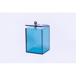 Modrá transparentní pokladnička 120x120x170 mm