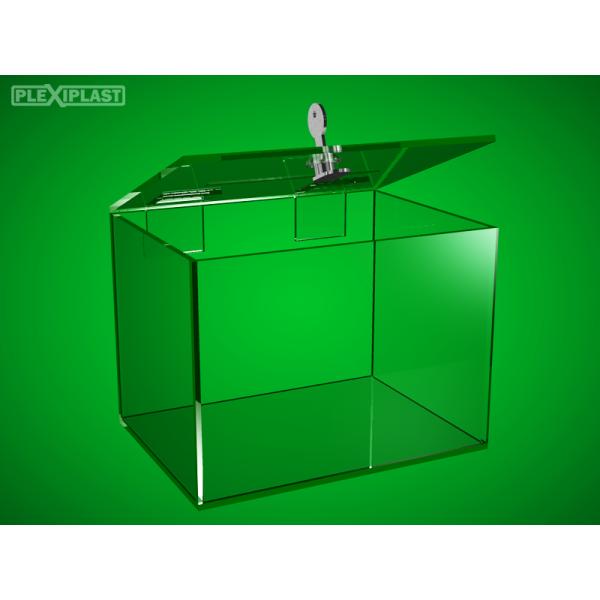 Acrylic moneybox, 250x200x200 mm