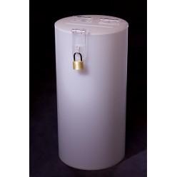 Cylindrical moneybox, opal (milky)