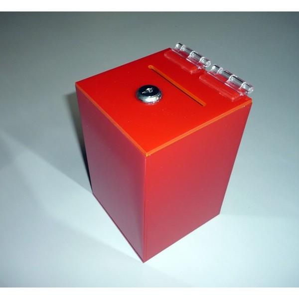 Red money box, size 100 x 100 x 150 mm