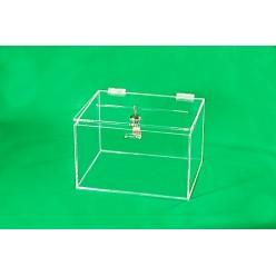 Plexisklová kasička - žlutá, transparentní