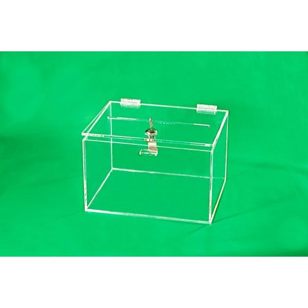 Plexisklová pokladnička - čirá, 250 x 200 x 150 mm