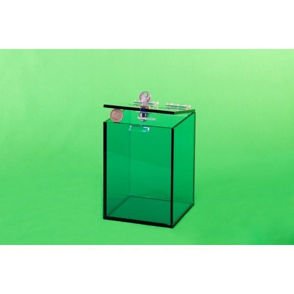 Light blue acrylic box, 120x120x170 mm