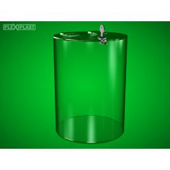 Cylindrical moneybox, clear, medium