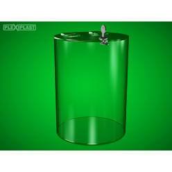 Cylindrical moneybox, clear, tall