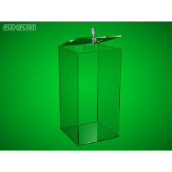 Money box - clear high, 150 x 150 x 400 mm
